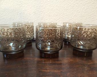 LIBBEY PRADO GLASSES, Eight Smoke Brown Glasses, Set of 8 Prado Glasses, Low Ball Prado Glass Set