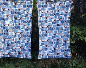 1960's curtains, vintage barkcloth curtains with blue abstract print