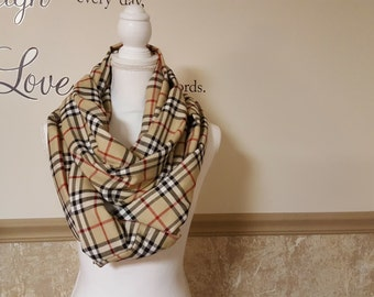Lovely Tan, Black and Red Plaid Infinity Scarf