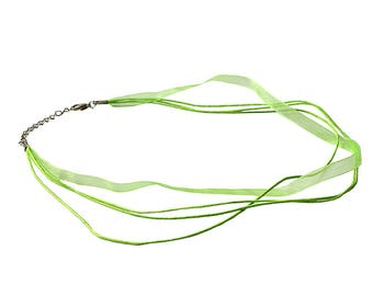 Lot of 5 Lime Green Organza Voile Ribbon Necklace Cords w/LobsterClasp