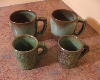 Set of Four (4) 1960s Frankoma Coffee Mugs / 2 large mugs, 2 demitasse Mayan mugs.