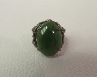 Vintage Green Stone Ring Sterling Silver Size 5.5