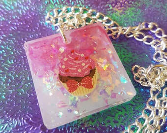 Cupcake resin necklace