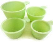 Vintage Jeannette Jadeite Glass Measuring Cup Set - 1C (8oz), 1/2C (4oz), 1/3C (2-2/3oz), 1/4C (2oz) - jadite, antique, skokie mint green
