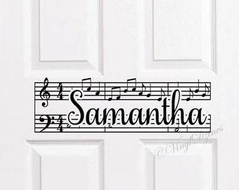 Music Note Kids Door Sign, Kids Door Decal, Name Door Decal, Name Sticker, Kids Name Decal, Bedroom Door Sticker WD-1402