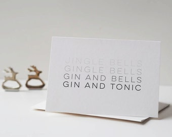 Gin and Tonic Christmas Card - Christmas Card - Gin Card - Jingle Bells Card - Jingle Bells - Gingle Bells