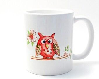 Owl Mug. Watercolour Artist. Owl Cup. Owl Gift. Owl gift. Owl Birthday Gift. Cute Owl Present. Art Mug.