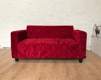 Ikea slip cover for Klobo sofa in Luxury Crushed Marble Velvet Klobo Cover - Red