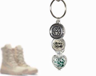 Army KeyChain Birthstone - Army Mom - Birthstone Cage Locket - Personalized Military Key Chain