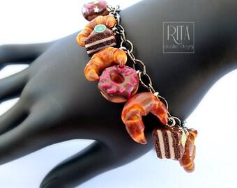 Sweet bracelet. mini sweet food in polymer clay.