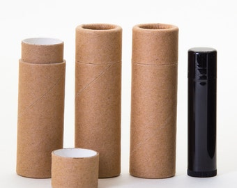 Eco Friendly 1/2 OUNCE - Lip Balm / Salve  -   Kraft Cardboard 100% Biodegradable Cosmetic Push Up Tubes  -  6 PACK