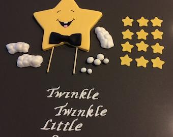Twinkle Twinkle Little Star, Star Fondant Cake Topper Set