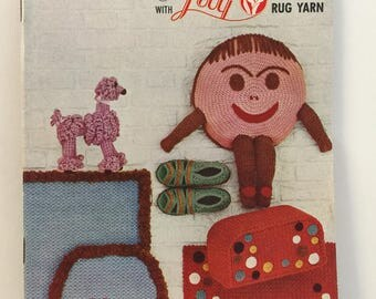 Crochet with Rug Yarn Lily Design Book 202 Pajama Bag, Slippers, Rug, Hats, Bags, Pot Holders, Yo Yo Mats, Poodle Dog,Baby Bib, Place Mats