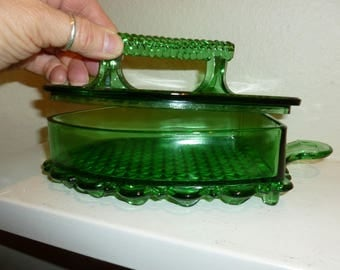 Vintage Green Glass Candy Dish With Handle Shaped Like a flat Iron From 1960's
