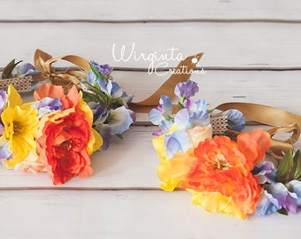 Mother and daughter flower headpiece/tieback set. Yellow, orange and lilac. Photo prop. Ready to send