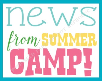 Camp Postcard- Summer Camp Postcard- Personalized -Printed Postcard, camp stationary