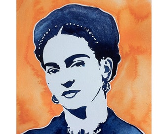 Frida Kahlo Watercolor Painting Print in High Resolution (Orange and Blue)
