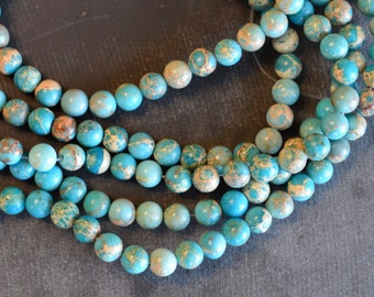 6mm Regalite Aqua Terra Jasper Round Beads (16) Turquoise Blue Stone Beads Gemstone Bead, Impression Jasper