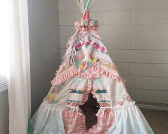 MADE to ORDER TEEPEE, unicorn, unicorn teepee, teepee, playhouse, playtent, childrens teepee, kids teepee 6ft.