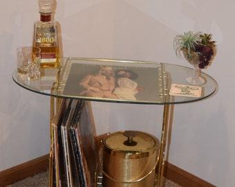 Vintage Vinyl Record Stand - Vintage Gold Cocktail Bar Stand - Vintage Record Plater Stand / Mid Century Vinyl Stand