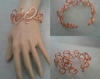Solid Copper Wire Cuff Bracelet, Wire Bracelet, Wrapped Wire Bracelet