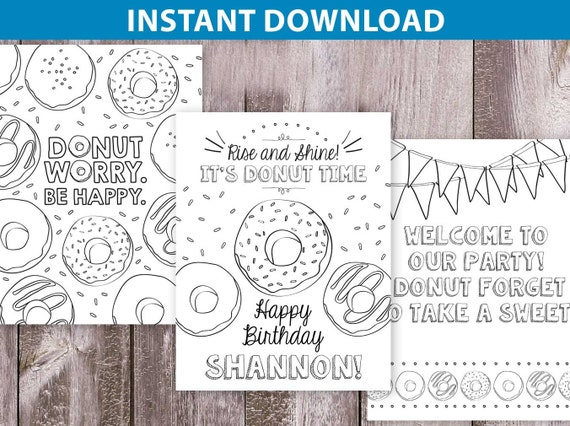 3 donut birthday coloring pages personalized coloring page donut printable donut party coloring sprinkles 85x11