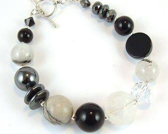 Black & White Multi Gemstone Sterling Silver Bracelet