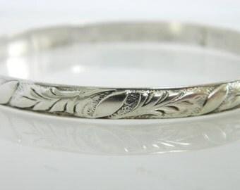 Vintage Danecraft Sterling Silver Floral Bangle Bracelet