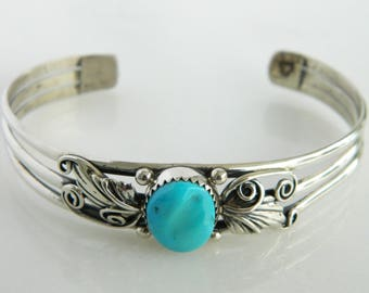 Wonderful Sterling Silver & Turquoise Native American Cuff Bracelet