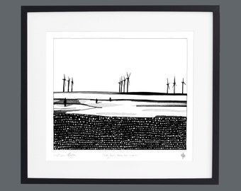 Crosby Beach - Another Place Sculptures screen print