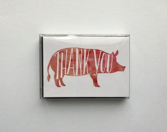 Watercolor Hog Stationery Thank You Cards, Arkansas Razorback Greeting Cards set of 8