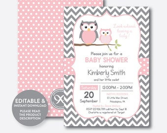 Good Instant Download, Editable Owl Baby Shower Invitation, Pink Owl Invitation,  Girl Baby Shower