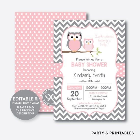 Instant download editable owl baby shower invitation pink owl il570xn filmwisefo