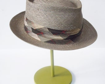 "Panama Hat / Vintage Mens Hat in Original Box / Grey Straw Summer Hat / Fine Plaid Band / From ""Sea Spray"" Straw Hats"