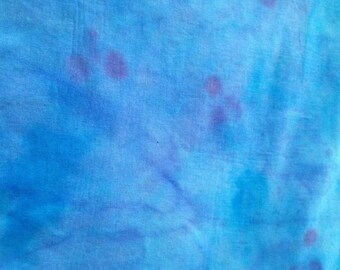Hand Dyed Fabric - Swiss cotton voile. 2 metres x 130cm - Blue, Magenta