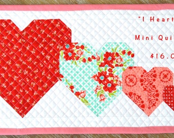 "I Heart You mini quilt kit, includes pattern and ALL fabric for top, back and binding by Cluck Cluck Sew 10"" by 19 3/4"" Bonnie and Camille"