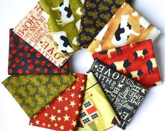 The Way Home Fat Quarter Bundle - Jennifer Pugh - Wilmington Prints - 10 fat quarters - 100% Cotton - farm animals, primitive, apples, cows