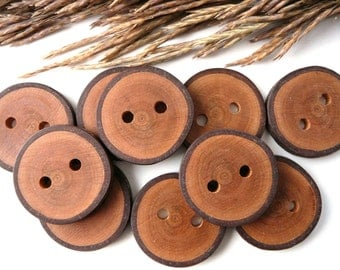 Wooden buttons set of 10, natural rustic wood buttons, cherry tree button, craft supplies, craft accessories #1