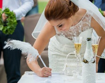Large Ostrich Feather Pen with roses Feather Pen/ Wedding Signing Pen  Guest Book Pen Wedding Reception Accessories