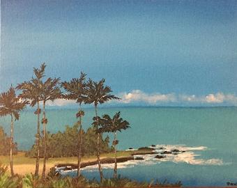 """Hawaii Seascape Vista original 11"""" x 14"""" acrylic painting on a canvas panel, Hawaii Seascape, Hawaii Painting, Hawaii Art"""