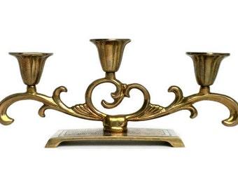 Brass Candelabra, Three Candle Candelabra, Footed Candelabra, Three Candle Holder, Candlestick Centerpiece, Candlestick Holder,