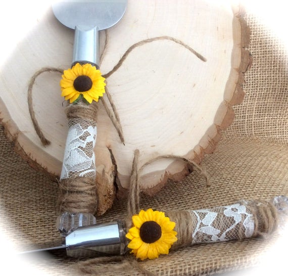 Sunflower Rustic Country Barn Wedding Lace and Jute Cake Server Set