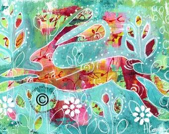 Bounding Hare #170 Original Painting