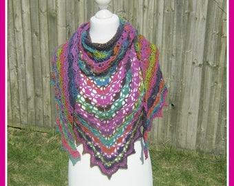 Crochet, crocheted, lace, rainbow, shawl, scarf, wrap, cowl, lacy shawl, rainbow scarf