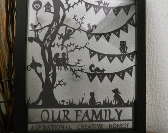 Family Tree Bespoke Paper Cutting Gift - Personalized with family values and Framed