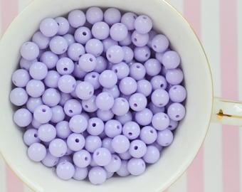 8mm Kawaii Pastel Purple Round Beads - set of 100