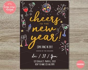 New years invite | Etsy