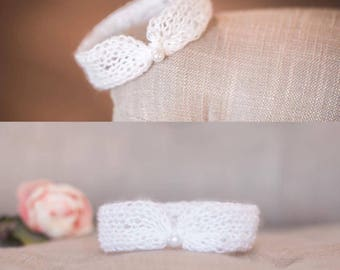 Mohair Headband with Pearl Accent