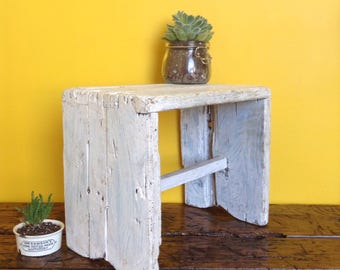 Antique, vintage rustic wooden bench stool. Hungarian white stool. Handmade. Vintage wooden stool, rustic stool, hungarian stool. Wood bench