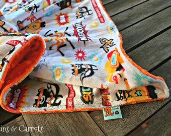 Superhero Minky Blanket made with Shannon's Minky (Robert Kaufman) and Orange Dimpled Minky